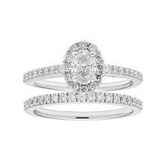 Boston Bay Diamonds 14k White Gold 1 Carat T.W. IGL Certified Diamond Oval Halo Engagement Ring Set