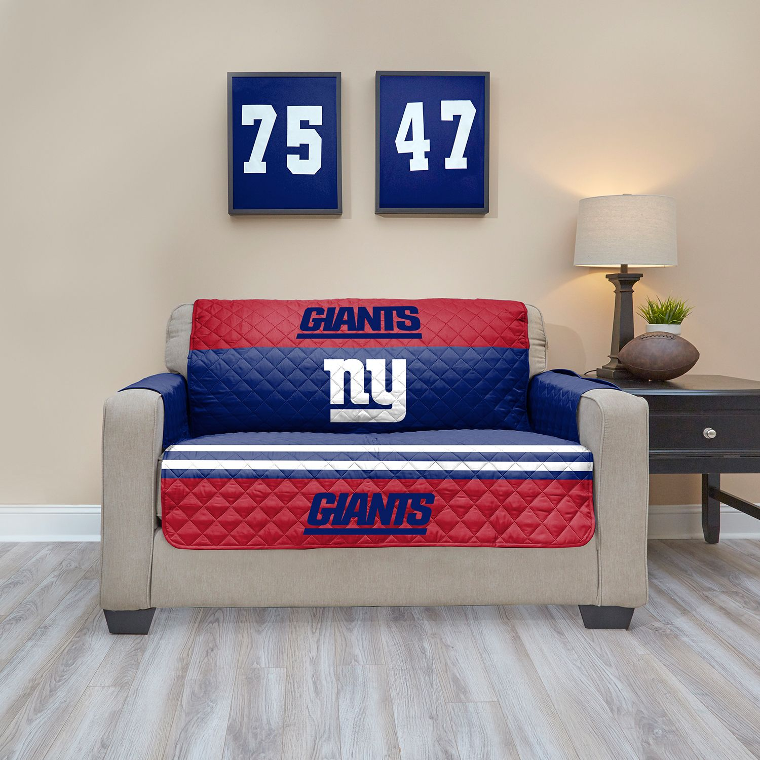 New York Giants Quilted Loveseat Cover
