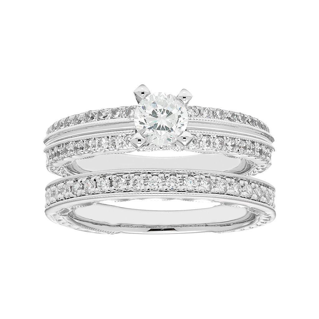 Boston Bay Diamonds 14k White Gold 3/4 Carat T.W. IGL Certified Diamond Engagement Ring Set