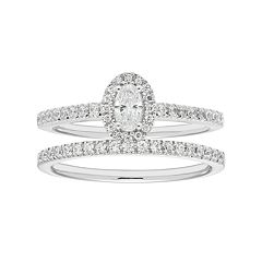 Boston Bay Diamonds 14k White Gold 5/8 Carat T.W. IGL Certified Diamond Oval Halo Engagement Ring Set