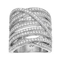 Jennifer Lopez Red Carpet Ready Cubic Zirconia Crisscross Multi Row Ring