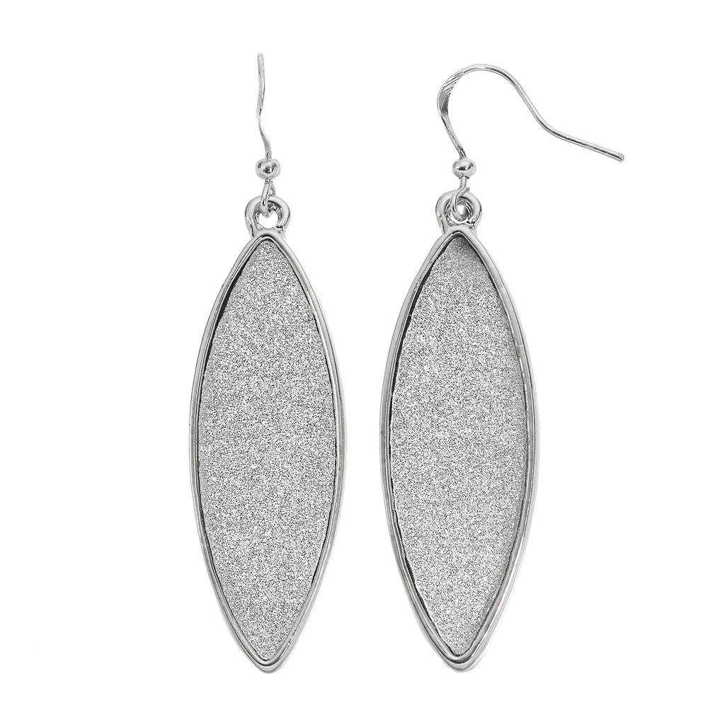Glittery Marquise Nickel Free Drop Earrings
