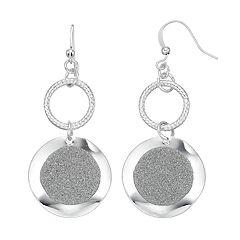 Gray Glittery Disc Nickel Free Double Drop Earrings