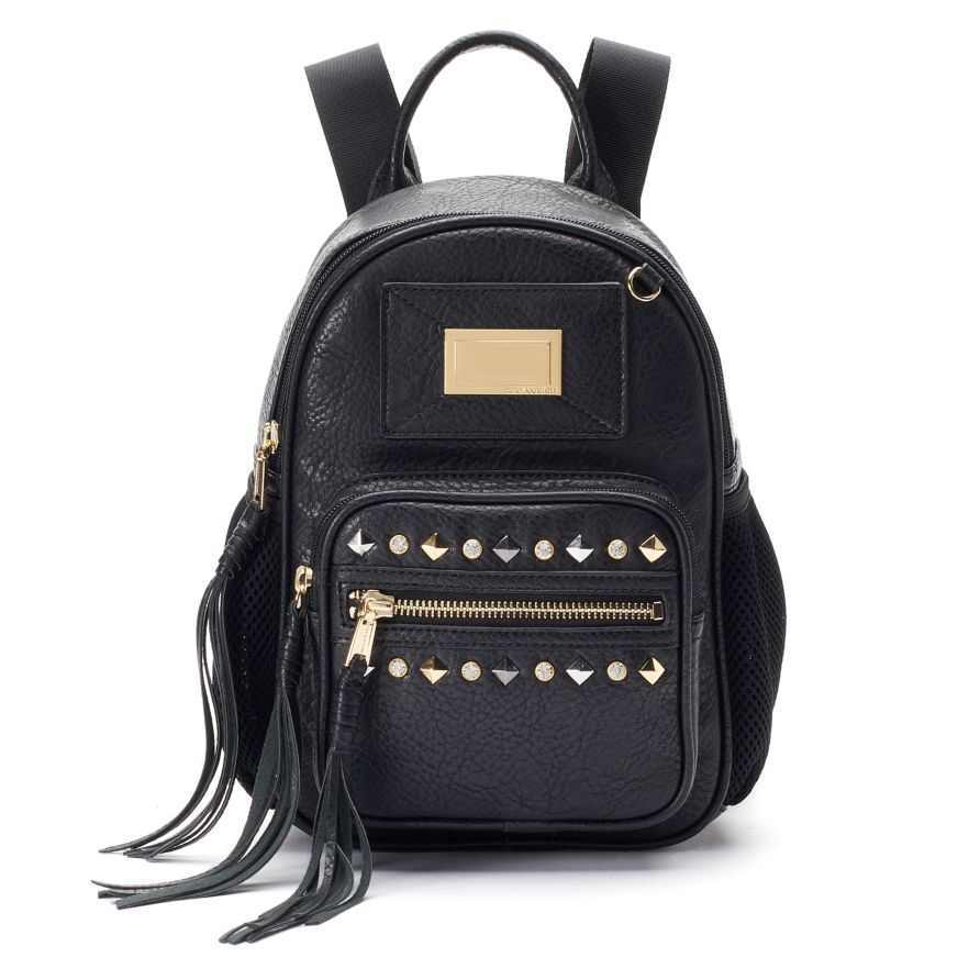 NEW Juicy Couture Traveler Zippered Backpack Black Leather Studded ...