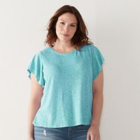 Plus Size SONOMA Goods for Life™ Slubbed Flutter Tee
