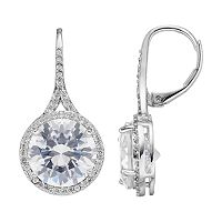 Jennifer Lopez Red Carpet Ready Cubic Zirconia Halo Drop Earrings