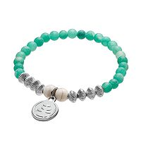 Wish Upon A Rock Tumbled Teal Jade Beaded Stretch Bracelet