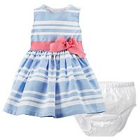 Baby Girl Carter's Chambray Striped Dress with Sash & Bloomers Set