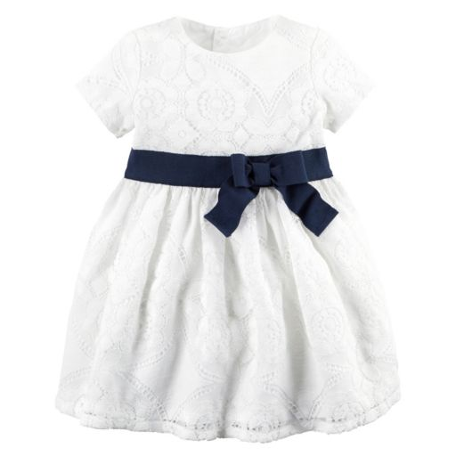 Baby Girl Carter's Ivory Lace Dress & Bloomers Set