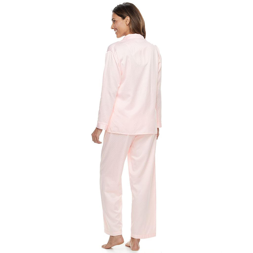 Women's Miss Elaine Essentials Pajamas: Brushed Back Satin Top And Pant PJ Set