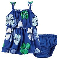 Baby Girl Carter's Floral Ruffle Dress & Bloomers Set
