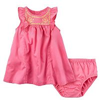 Baby Girl Carter's Embroidered Flutter Sleeves Dress & Bloomers Set