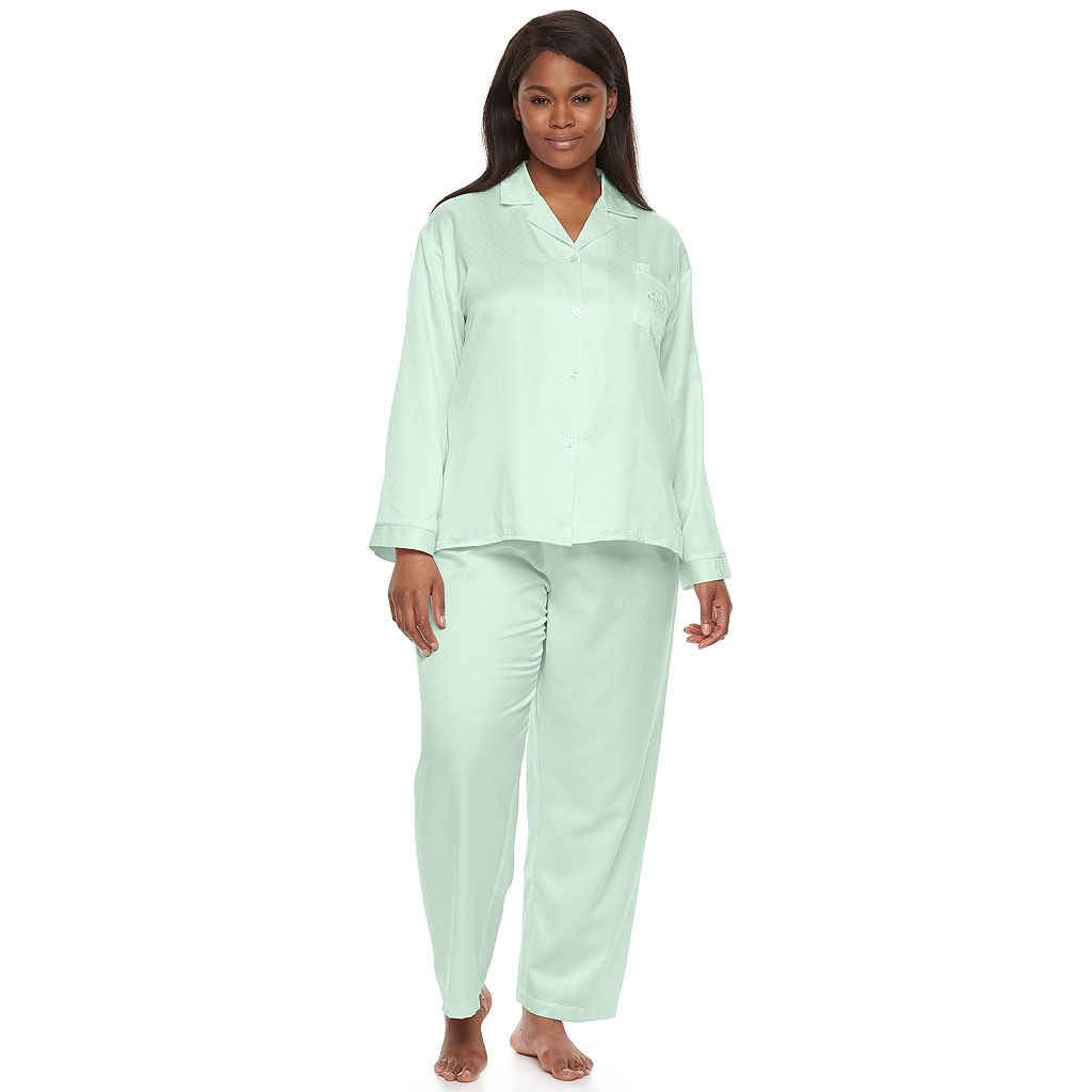 Plus Size Miss Elaine Essentials Pajamas: Brushed Back Satin Top And Pant PJ Set