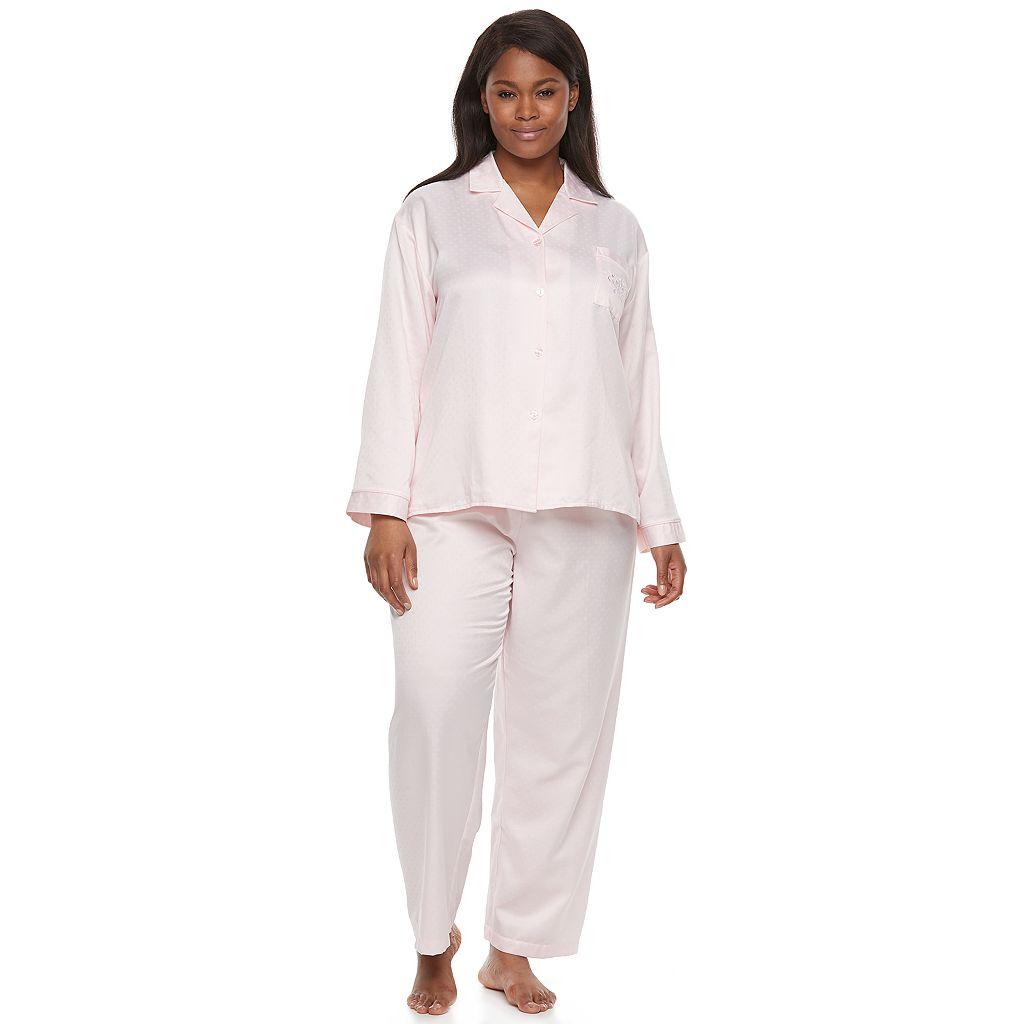 Plus Size Miss Elaine Essentials Pajamas: Brushed Back Satin Top And Pant PJ Set