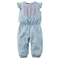 Baby Girl Carter's Embroidered Henley Jumpsuit