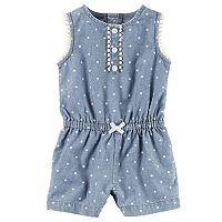 Baby Girl Carter's Polka-Dot Chambray Romper