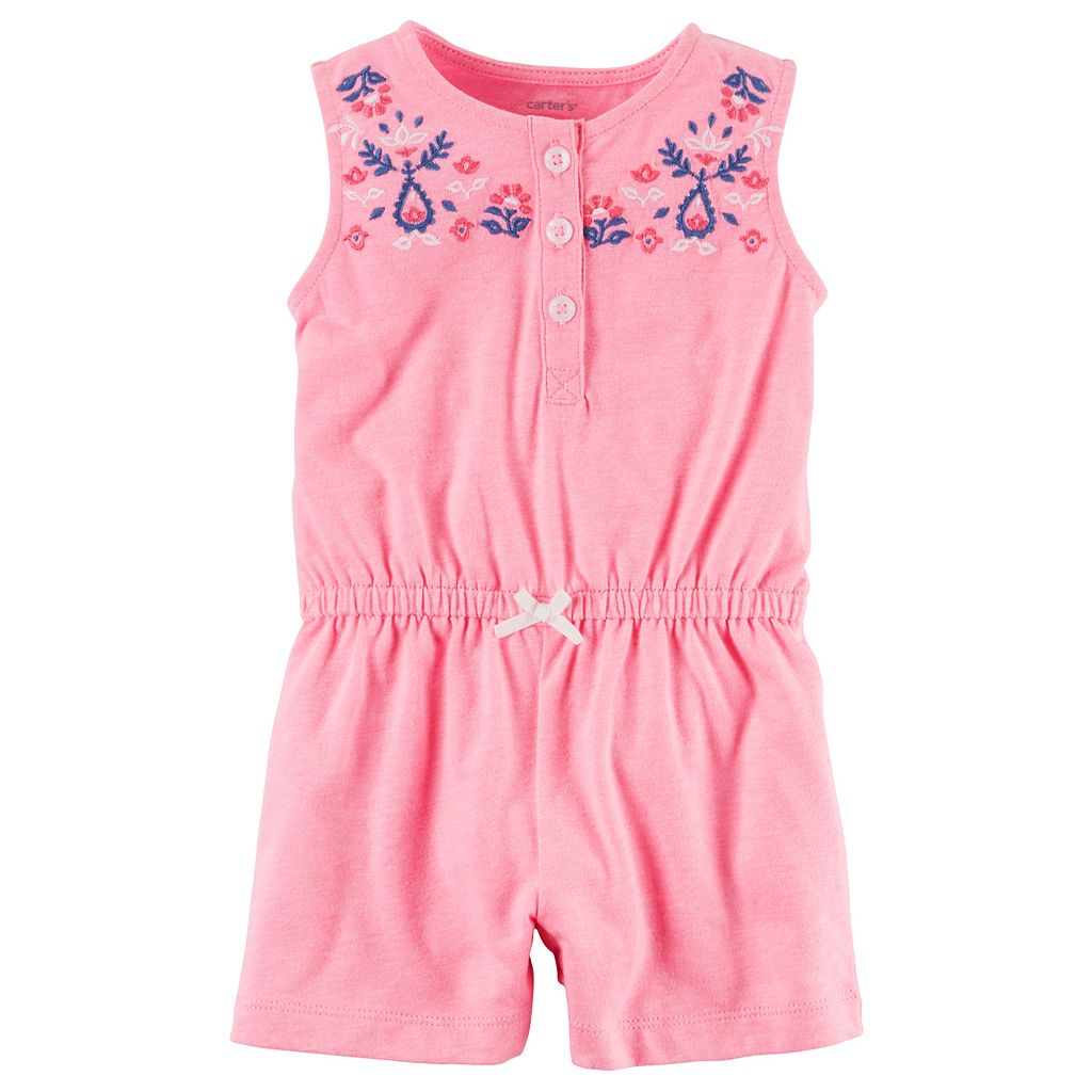 Baby Girl Carter's Embroidered Henley Romper
