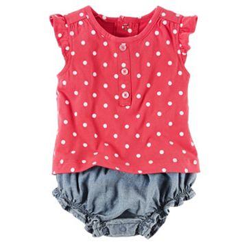 Baby Girl Carter's Polka-Dot Top & Chambray Bloomers Set