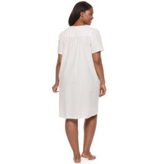 Plus Size Miss Elaine Essentials Seersucker Snap Front Short Robe