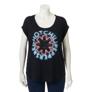 Plus Size Rock & Republic® Red Hot Chili Peppers Roll-Cuff Top