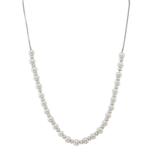 Sterling Silver Freshwater Cultured Pearl Adjustable Necklace