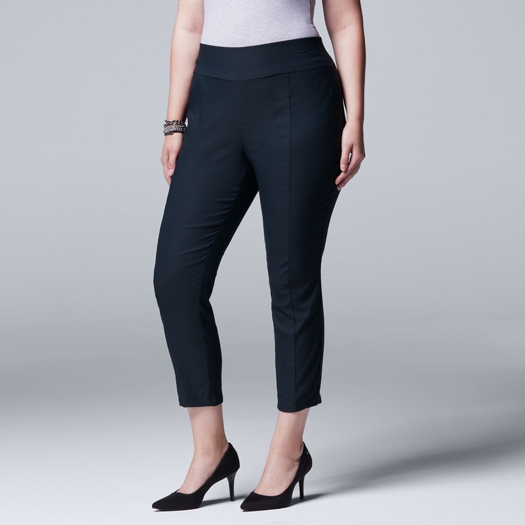 Plus Size Simply Vera Vera Wang Twill Crop Pants