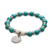 Wish Upon A Rock Teal Shell Composite Beaded Stretch Bracelet