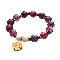 Wish Upon A Rock Purple Jasper Beaded Stretch Bracelet