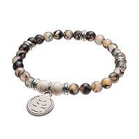 Wish Upon A Rock Gray Jasper Beaded Stretch Bracelet
