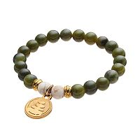Wish Upon A Rock Forest Green Jade Beaded Stretch Bracelet