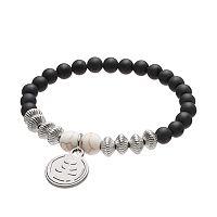 Wish Upon A Rock Black Onyx Beaded Stretch Bracelet