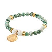 Wish Upon A Rock Mixed Moss Jade Beaded Stretch Bracelet