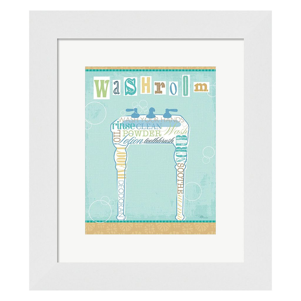 Metaverse Art Bathroom Words Sink II Framed Wall Art