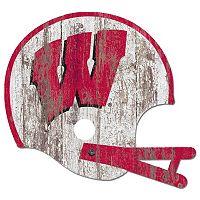 Wisconsin Badgers Distressed Helmet Cutout Wall Art