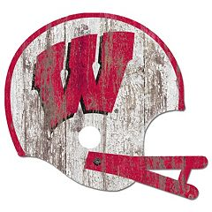 Wisconsin Badgers Distressed Helmet Cutout Wall Art
