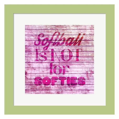 "Metaverse Art ""Softball Is Not For Softies"" Framed Wall Art"