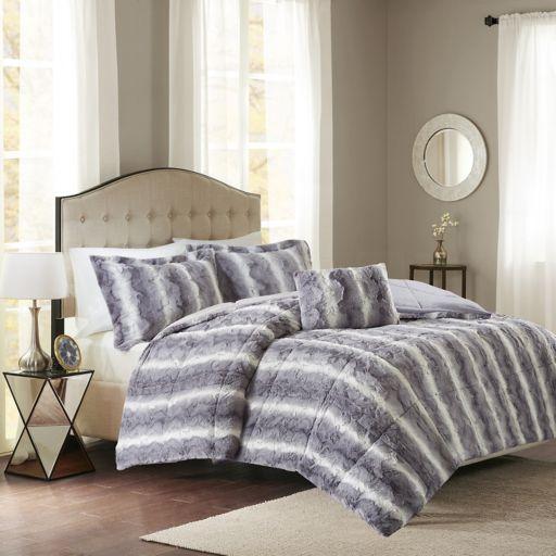 Madison Park Marcelle Faux Fur Comforter Set