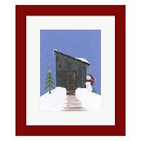 Metaverse Art Barnwood Outhouse Framed Christmas Wall Art