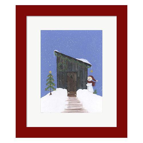 Metaverse Art Barnwood Outhouse Framed Christmas Wall Art