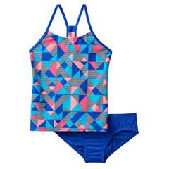 Girls 7-14 Nike Racerback Tankini Swimsuit Set by