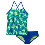 Girls 7-14 Nike Cross-Back Graphic Tankini Swimsuit Set