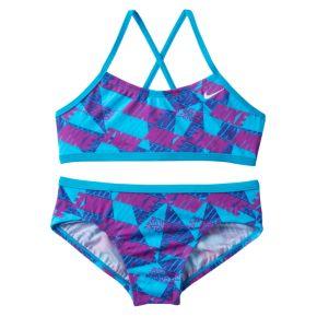 Girls 7-14 Nike Cross-Back Graphic Bikini Swimsuit Set