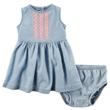 Baby Girl Carter's Embroidered Chambray Denim Dress & Bloomers Set