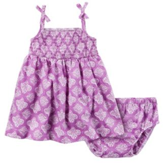 Baby Girl Carter's Smocked Paisley Dress & Bloomers Set