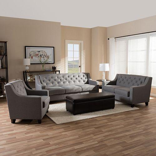 Baxton Studio Arcadia Contemporary Sofa, Loveseat & Arm Chair 3-piece Set