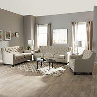 Baxton Studio Arcadia Contemporary Sofa, Loveseat & Arm Chair 3 pc Set