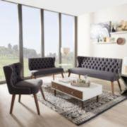 Baxton Studio Scarlett Sofa, Loveseat & Accent Chair 3-piece Set
