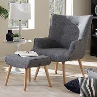 Baxton Studio Nola Arm Chair & Ottoman Stool 2-piece Set
