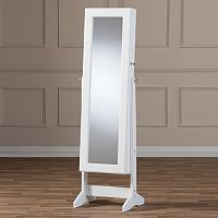 Baxton Studio Alena Floor Mirror & Jewelry Armoire