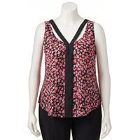 Juniors' Plus Size Candie's® Print Double V Tank